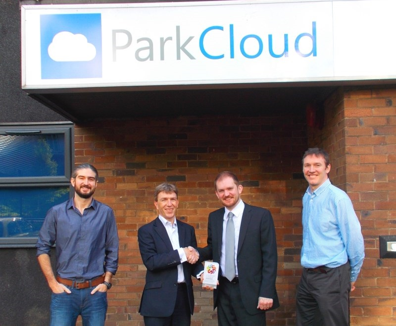 ParkCloud receives the 'Highly Commended' award from Andrew Baggott, main sponsor & organiser of the Stockport Business Awards