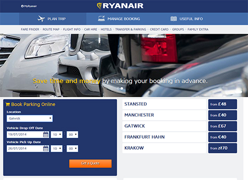 ParkCloud channels all Ryanair parking reservations
