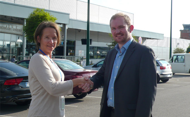 Corinne Neveux, Marketing Manager at Beauvais Airport, with ParkCloud's Managing Director, Mark Pegler