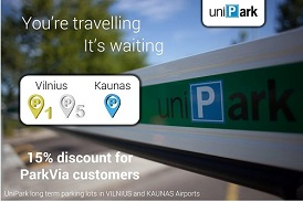 Save 15% on Vilnius and Kaunas airport parking with UniPark and ParkVia